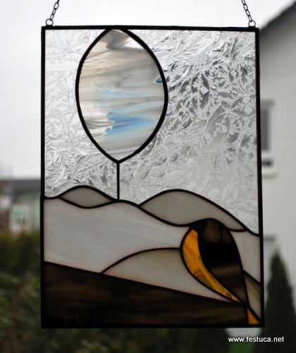 Fensterbild - Winterlandschaft mit Vogel